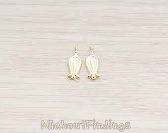 PDT907-MG // Matte Gold Plated Bell Shaped Flower Charm Pendant, 2 Pc