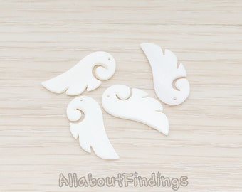ET988-WH // Mother of Pearl White Angel Wing Bead Pendant, 2 Pc