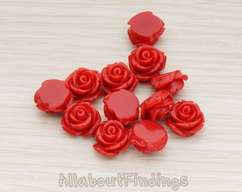 CBC141-01-DR // Dark Red Colored Curved Petal Rose Flower Flat Back Cabochon, 6 Pc