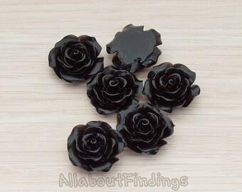 CBC157-01-BL // Black Colored  Medium Angelique Rose Flower Flat Back Cabochon, 4 Pc