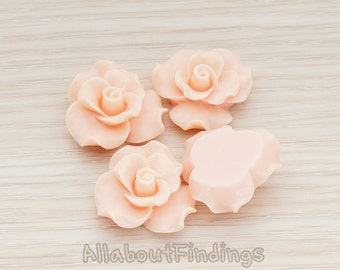 CBC191-PE // Peach Colored Bloom Rose Flower Flat Back Cabochon, 4 Pc