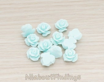 CBC191-01-LB // Light Blue Colored Small Bloom Rose Flower Flat Back Cabochon, 6 Pc
