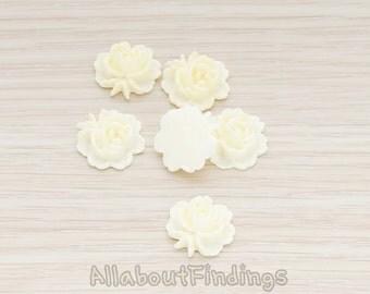 CBC503-CR // Cream Colored Flat Rose Flower Back Cabochon, 6 Pc
