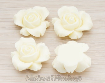 CBC200-01-IV // Ivory Colored Narcissus Flower Flat Back Cabochon, 4 Pc