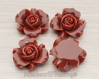 CBC200-01-CH // Chocolate Colored Narcissus Flower Flat Back Cabochon, 4 Pc