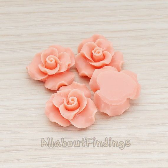 CBC191-CO // Coral Colored Bloom Rose Flower Flat Back