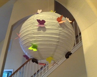 "14"" Enchanted lily, paper lantern, butterfly lantern, nursery lantern, butterfly party, butterfly birthday, room decor, butterfly decor"