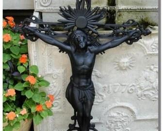 Victorian Turn of Century Style Jesus Christ on the Cross Sculpture