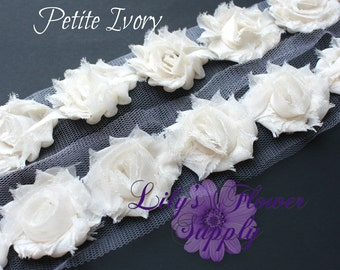 1/2 Yard - Petite Shabby - Petite Shabby trim - Shabby Flower Trim - Chiffon rose trim - Ivory - Petite Trim - Small Rose Trim - Wholesale