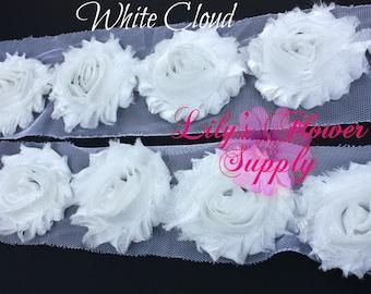 1 Yard - Shimmer - Cloud - Shabby Flower Trim - Shabby Rose trim - Shabby Trim - Chiffon Flower - White - Shabby Chic - Wholesale