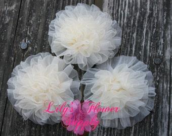 Light Petti Puff - Puff - Set of 3 - Chiffon Flower - Chiffon Rosette - Ruched Flower - Embellishment - Headband Flower - Cream - Wholesale