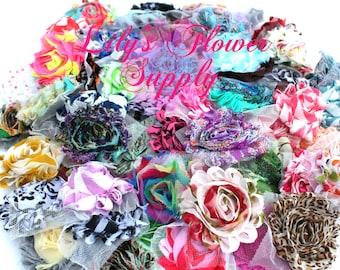 Grab Bag Shabby Flowers - 25 Shabby Flowers - Shabby Rose trim - Prints - Shabby Flower Rose Trim - Chiffon Flower - Shabby Chic - Rose Trim