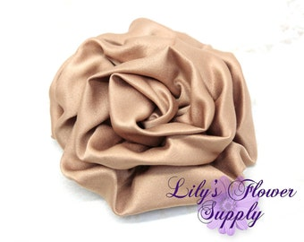 Satin Rolled Rosettes -Tan - Satin Flower - Satin Rose - Ruched Flowers - Rosettes - Satin rosettes - Rolled Rosettes - Wholesale - supply