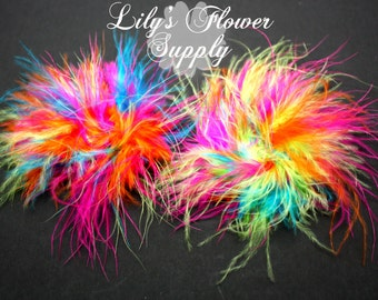 Marabou Feather Puffs - Set of 2 - Rainbow - Feather Puff