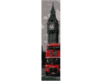 Pattern peyote London with red Bus and Big Bang, PDF for bracelet