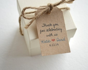 Thank You Kraft Brown Small Label Tags - Custom Wedding Favor & Gift Tags - Choice of Colors - Thank You For Celebrating Kraft