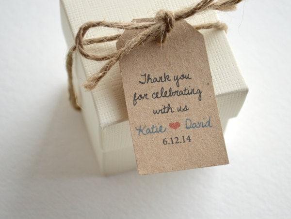 Thank you kraft brown small label tags custom wedding favor for Small tags for wedding favors