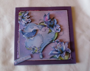 Beautiful shades of purple 'Thank You' card