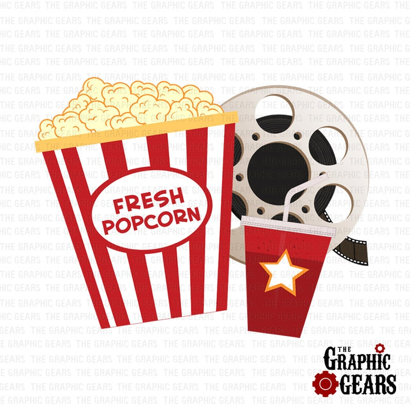 Popcorn Film Reel and Soda Clip Art Pop corn clip by GraphicGears