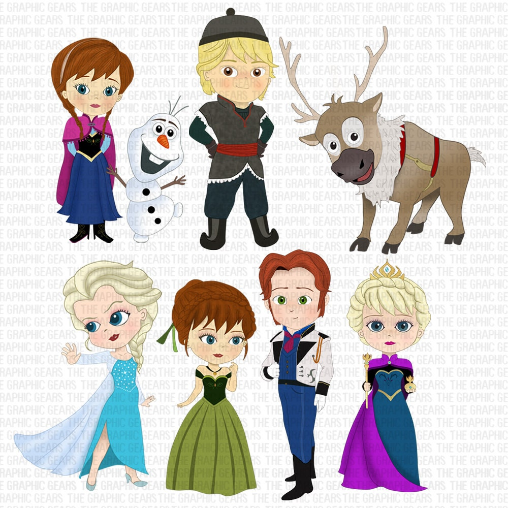 Pocket princesses frozen olaf frozen clip art set frozen