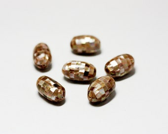 Brown Mosaic Shell Beads - Inlay Beads - Focal Beads - Brown Lip Shell - Mother of Pearl - MOP Beads - Oval Beads - 2 pcs.