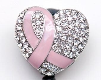 New Custom Bling Rhinestone Breast Cancer Awareness Pink Ribbon Badge Reel Retractable ID Badge Holder