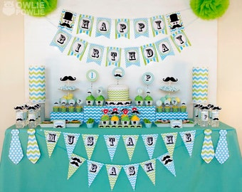 Little Man Mustache Bash BIRTHDAY Party Printable Package & Invitation, INSTANT DOWNLOAD, You Edit Yourself with Adobe Reader