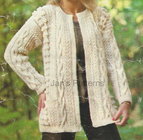 Aran Cardigan Knitting Patterns Free : Long Line Aran Jacket Cardigan Knitting by knittingpatterns4you
