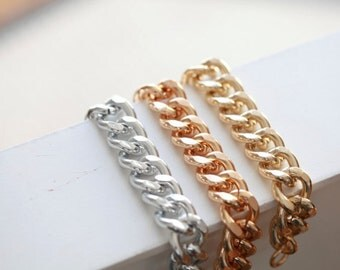 GOLD CURB Chain Bracelet -Chunky Large Chain Link Bracelet - Chain bracelet