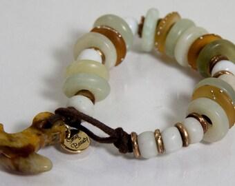 Bleecker Street Bracelet - serpentine, african trade beads, lampwork discs and bronze