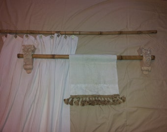 2 Pc Bamboo Shower Curtain And Towel Bar (Fire Cured)