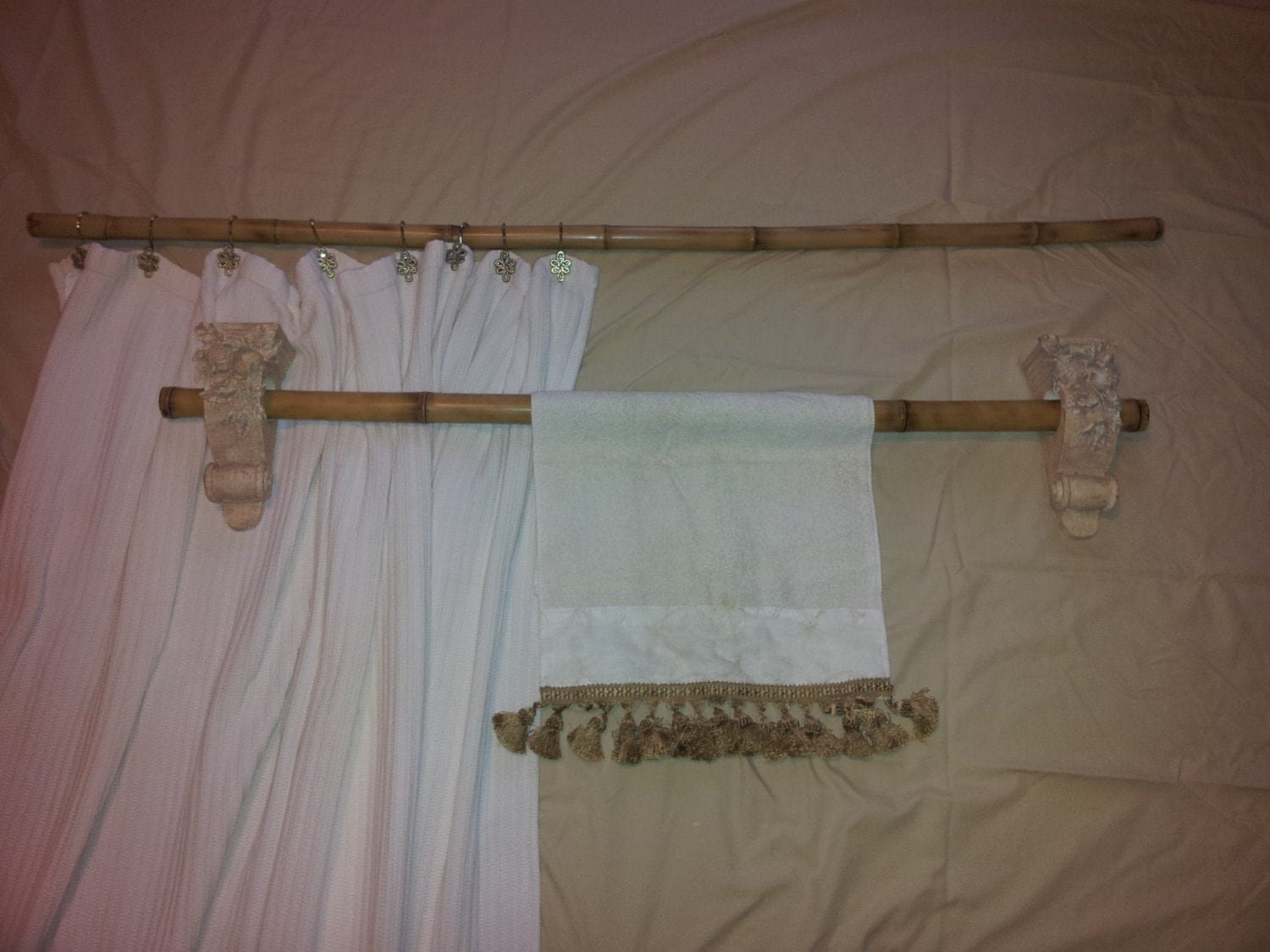 2 Pc Bamboo Shower Curtain And Towel Bar Fire Cured