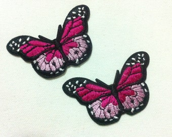 9 Pieces Pink Butterfly (6.5 x 4 cm) Embroidered Iron on Applique Patch (AL)