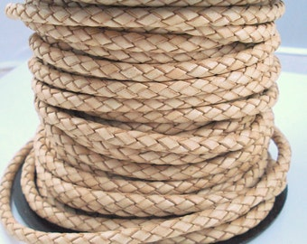Leather Braided Cord, 5MM Natural Bolo Leather, Excellent Quality All Leather, Tan Leather, ONE YARD