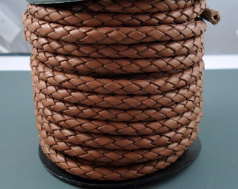Leather Braided Cord, 5MM Saddle Brown Bolo Leather,  Excellent Quality All Leather, One Yard