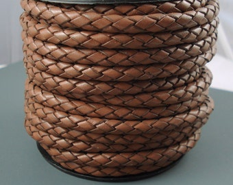 Leather Braided Cord, 6MM Saddle Brown Bolo Leather,  Excellent Quality All Leather, One Yard