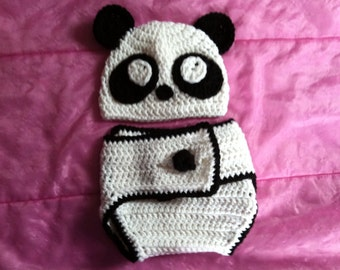 Panda hat and diaper cover, baby panda set, photography prop, baby set