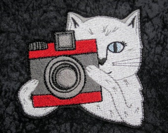 "Cat Iron on On Patch, Photographer, Camera Cat, Smile, Photo, Medium Size, 3 1/4"" X 3 1/2"", Embroidered Patch,"
