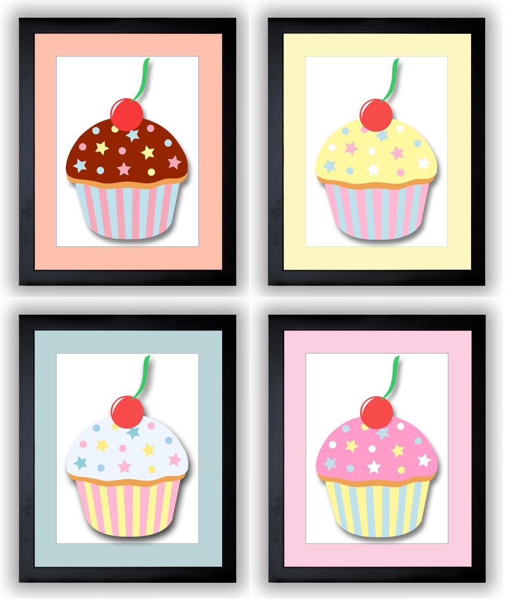 Cute Cupcakes Kids Room Art Nursery Art Nursery Print Child Baby Art Print Set of 4 Kids Room Wall A