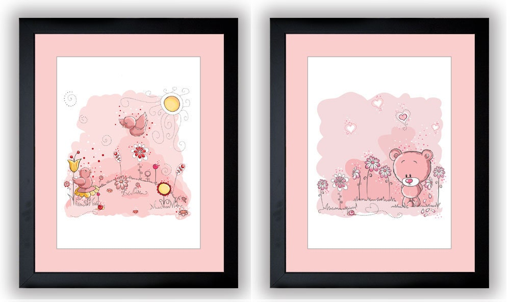 Delicate Pink Baby Girl Nursery Art Nursery Print Set of 2 Baby Art Teddy Bear and Birds Wall Art Nu