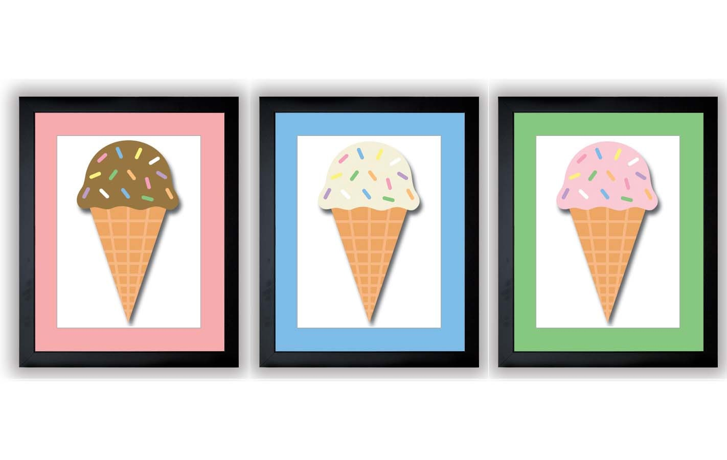 Ice Cream Cones Pink Blue Green Kids Art Nursery Art Print Set of 3 Child Baby Art Print Vanilla Cho