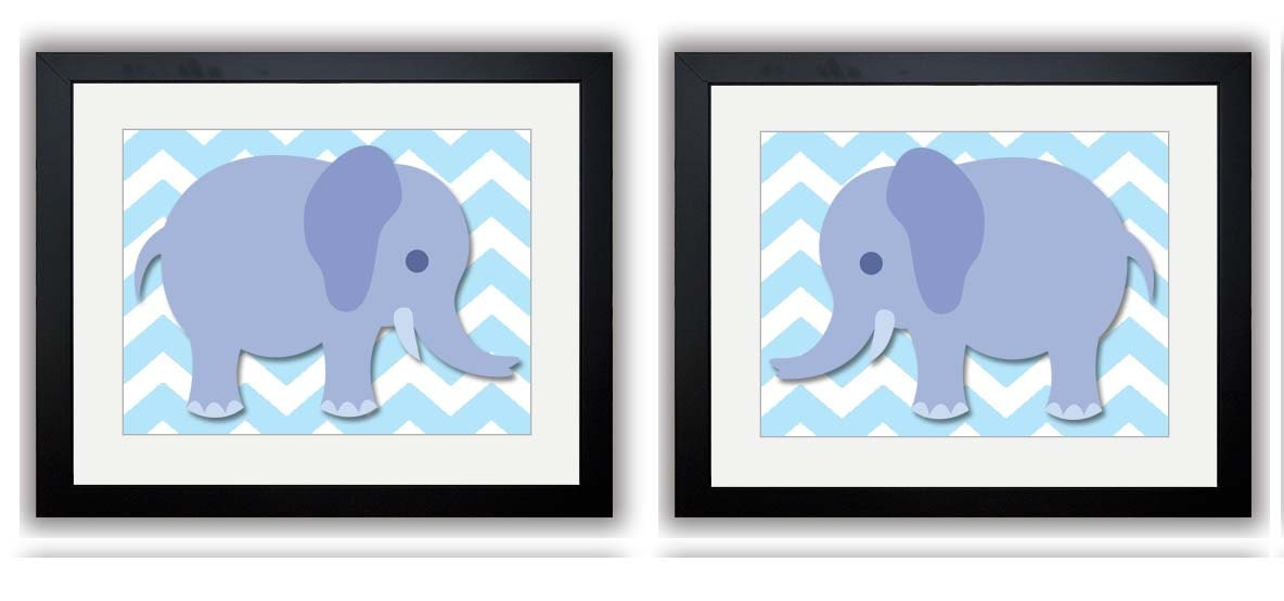 Blue Elephant Nursery Art Nursery Print Set of 2 Child Art Prints Boy Kids Room Wall Art Nursery Dec