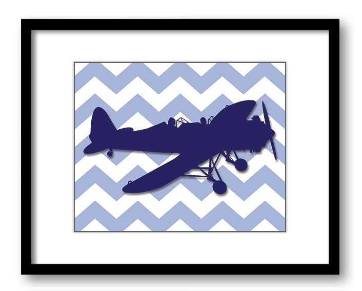 Blue Airplane Chevron Boys Art Print Nursery Art Nursery Print Child Baby Art Print Boys Kids Room W