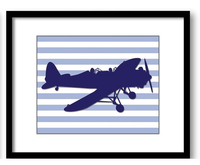 Blue Airplane Stripes Boys Art Print Nursery Art Nursery Print Child Baby Art Print Boys Kids Room W