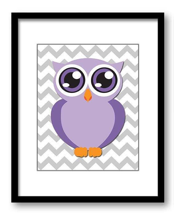 Owl Nursery Art Nursery Print Baby Art Grey Chevron Baby Animal Owl Purple Print Kids Wall Art Nurse