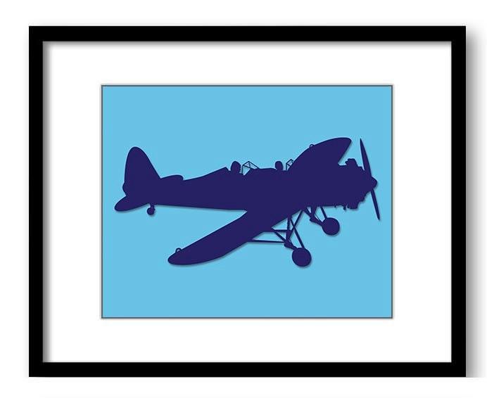 Sky Blue Navy Airplane Boys Art Nursery Art Nursery Print Child Baby Art Print Boys Kids Room Wall A