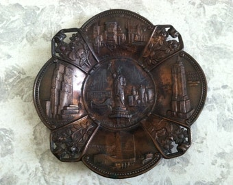 Vintage Copper Metal New York Decorative Wall Hanging