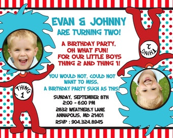 Dr. Seuss Thing 1 Thing 2 Twins Birthday Party Invitation - Digital File