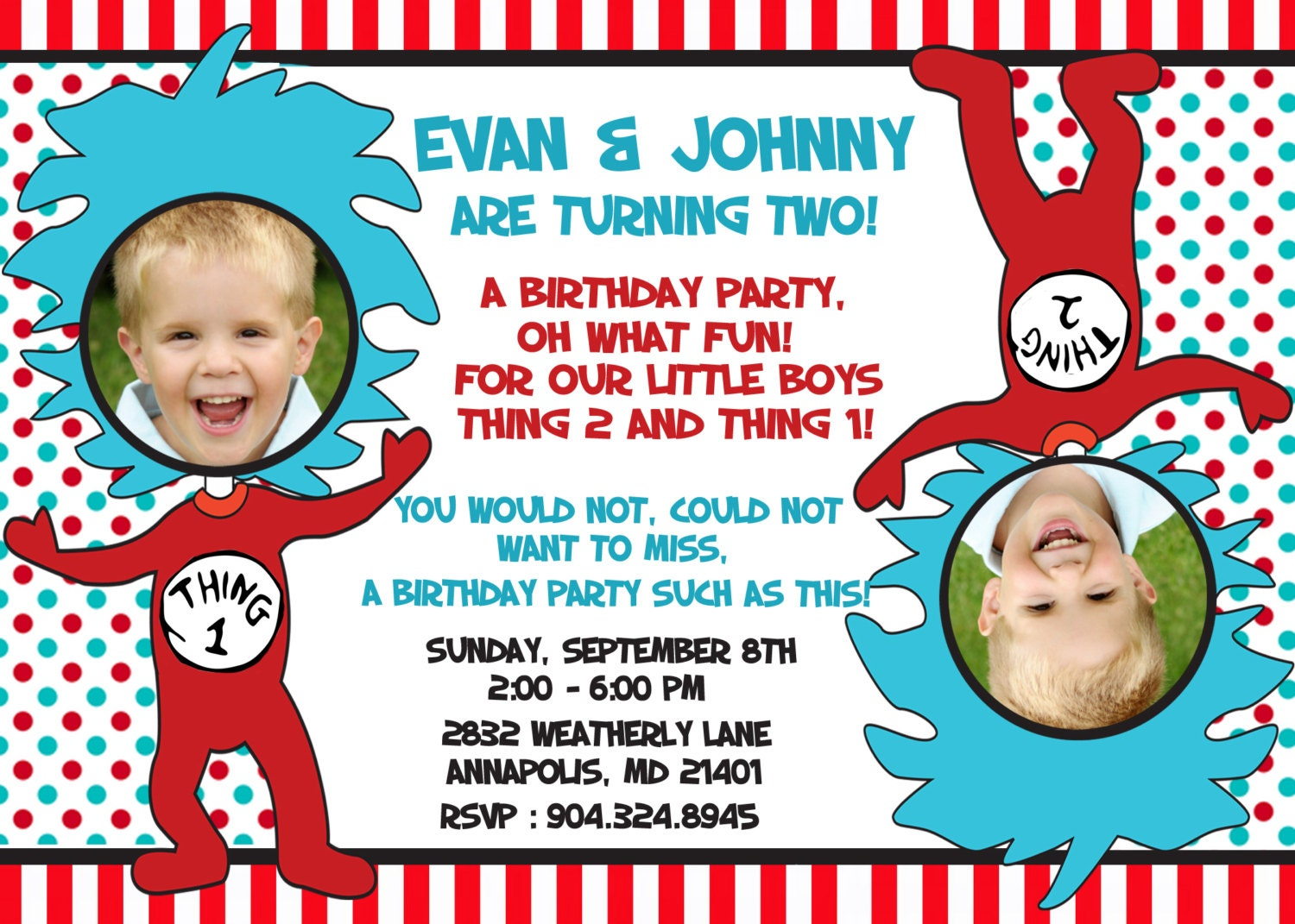 Dr. Seuss Thing 1 Thing 2 Twins Birthday Party Invitation