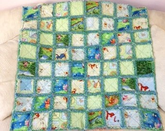 "Winnie the Pooh Baby/Toddler Rag Quilt - Blue Backing - 36"" x 36"""